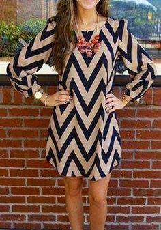 Multicolor Wavy Print Scoop Neck Long Sleeve Sweet Dress - Midi Dresses - Dresses
