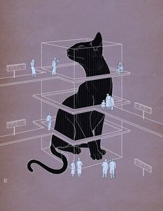 Illustration by Richard Wilkinson. #richard_wilkinson #illustrations #cats #mauve #black #art