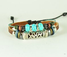 Pendant Bracelet Leather Bracelet Bangle Bracelet Jewelry Bracelet Charm Bracelet with  Blue Turquoise(T04)