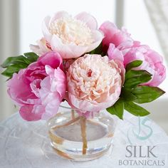 Jane Seymour Silk Botanicals Mixed Pink Peonies in Glass Vase (silk for winter) Peony Arrangement, Silk Flower Arrangements, Flower Vases, Table Arrangements, Faux Flowers, Silk Flowers, Beautiful Flowers, Real Flowers, Beautiful Things