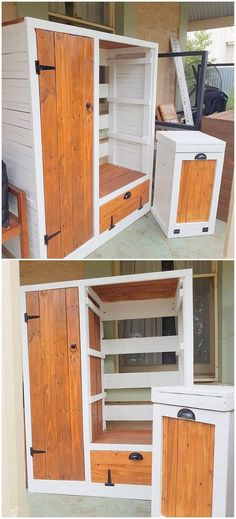 Wood Pallet Laundry Table and Cabinet