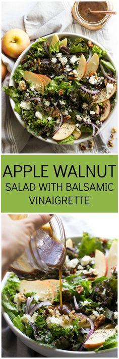 Apple Walnut Salad with Balsamic Vinaigrette - delicious autumn salad with pantry ingredients | littlebroken.com @Katya | Little Broken