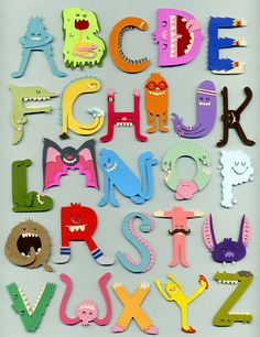 """I have this monster wallet now, but where is my monster alphabet. Your very own monster alphabet. Alphabet Art, Alphabet And Numbers, Alphabet Nursery, Letter Art, Monster Party, Paper Art, Paper Crafts, Cut Paper, Typography Letters"