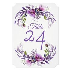 Violet Lavender Poppy  Flower Wedding Table Card - floral style flower flowers stylish diy personalize