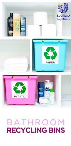 Rinse. Recycle. Reimagine. Did you know that the majority of bathroom products are recyclable? Small changes can make a big difference. Make it easy on yourself by adding recycling bins directly in your bathroom. Problem solved! #ReimagineThat Inspired by @UnileverUSA #partner