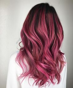 Black and berry ombre hair