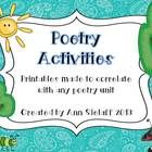 This product is 5 pages of poetry activities that are general enough to be used with any poems that you use. The activities are half-sheet sized, t...