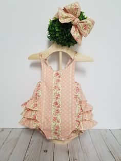 Baby Girls Shabby Chic Romper-Peach Rose Pink Romper-vintage style romper-ruffled romper-smash cake romper birthday romper by GeeBabyDesigns on Etsy Baby Bloomers, Baby Girl Romper, Baby Girls, Baby Rompers, Vintage Style, Vintage Fashion, Peach Rose, Vintage Baby Clothes, Romper Outfit