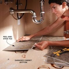Tile under your sinks for easier clean up. http://www.familyhandyman.com/DIY-Projects/Home-Organization/Bathroom-Storage/diy-bathroom-storage#step7 from :Polly's Picks: 45 BEST Home Organizational Household Tips Tricks Tutorials - Mrs. Polly Rogers | Decorate, Make, Create! | Mrs. Polly Rogers | Decorate, Make, Create!