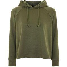 Topshop Petite Raglan Hoodie ($34) ❤ liked on Polyvore featuring tops, hoodies, khaki, sweatshirt hoodies, raglan top, petite hoodie, topshop hoodies and topshop tops