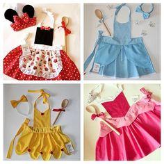 Idéias Fáceis de Fantasias de Carnaval para Costurar com restos de Tecidos Dress Up Aprons, Dress Up Outfits, Kids Outfits, Disney Princess Aprons, Disney Aprons, Sewing For Kids, Baby Sewing, Kids Dress Up, Sewing Aprons
