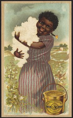 Rare Two sided Antique Victorian Advertising ' Race ' card for Cottolene Lard~ Vintage Labels, Vintage Cards, Vintage Postcards, Girls Names Vintage, Black History Facts, Wow Art, African American History, Black Art, Vintage Advertisements