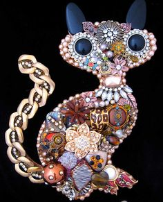 Cat Vintage Jewelry Art Kitty Cat Art by ArtCreationsByCJ