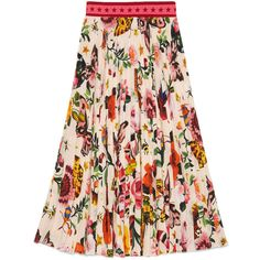 Gucci Garden Exclusive Silk Skirt (3 905 BGN) ❤ liked on Polyvore featuring skirts, bottoms, gucci, ready to wear, women, silk skirt, print skirt, floral print skirt, mid length skirts and leaf print skirt