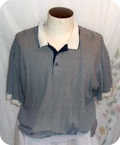 Reebok Golf Mens Polo Shirt Size 2X  Blue White Striped Short Sleeve Cotton #Reebok #PoloRugby #Menswear #Mensfashion #Size2X