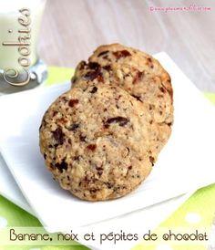 Cookies à la banane, noix et pépites de chocolat