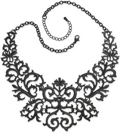 Bar III Necklace, Jet-Tone Lace Bib Necklace on shopstyle.com