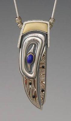 Silver Raven Spirit with Mokume Beak and Inlaid Fossil Mammoth Ivory by Brooke Stone Jewelry