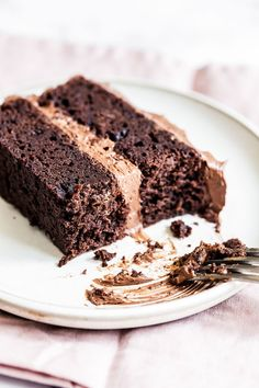 This Best Chocolate Cake recipe makes for the most flavorful, moist, and tender chocolate cake you've ever tasted! Everyone LOVES it and you don't even need a mixer to make the batter. | Posted By: DebbieNet.com