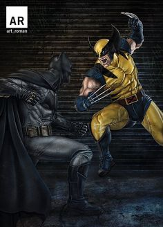 Are you a Batman, Wolverine fan ? Check out this Bada*s pic by Art Roman. Hq Marvel, Marvel Dc Comics, Marvel Heroes, Comic Book Characters, Comic Book Heroes, Comic Character, Comic Books, Batman Universe, Comics Universe