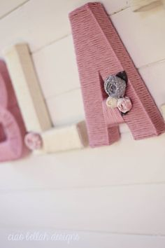 Shabby Chic Yarn Wrapped Letters Personalized by CiaoBellahDesigns