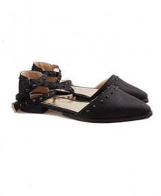 Multi Strap Studded Flat Shoes. I love trendy flats, and they are really hard to find.