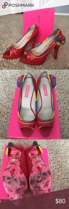 """🎉HOST PICK🎉💃👠Betsey Johnson heels Adorable pair of very colorful:red, with pops of yellow, blue and green high heels. Only wore a couple times. Great condition! Size 9 1/2, 4 1/2"""" heel. Betsey Johnson Shoes Heels"""