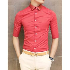Stylish Shirt Collar Slimming Solid Color Three-Quarter Sleeve Men's Polyester Shirt, RED, M in Shirts | DressLily.com