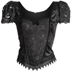 Shop: classic goth women's top by Sinister, puff sleeves ($79) ❤ liked on Polyvore featuring tops, puff shoulder top, puff sleeve top, gothic tops, puffed sleeve top and lace sleeve top