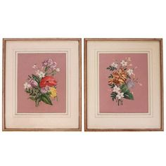 1940s Pink Floral Spring Bouquet Botanicals - Pair ($345) ❤ liked on Polyvore featuring home, home decor, wall art, art, flower wall art, floral home decor, 2 piece wall art, pink wall art and flower home decor