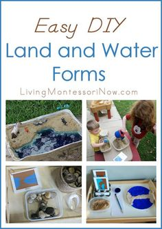 Easy DIY ideas for Montessori-inspired land and water forms; perfect for small spaces and home use (also ideas for the beach or backyard); post contains Montessori Monday linky collection.