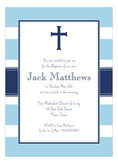 Blue Stripe Cross Invitation #Baptism #FirstCommunion