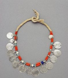 Berber necklace, coral, vegetal fibre, silver