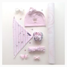 Baby girl inspo  Beanie and bib from LIKALYX! Knitted converse, bows, roses stars and butterflies.