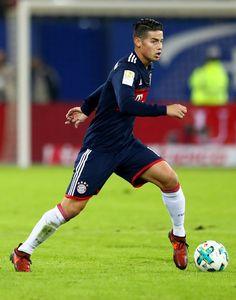James Rodriguez of Bayern Muenchen runs with the ball during the Bundesliga match between Hamburger SV and FC Bayern Muenchen at Volksparkstadion on October 21, 2017 in Hamburg, Germany.
