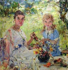 ARTIST's WIFE AND DAUGHTER by Nicolai Fechin (Russia 1881~1955 USA)