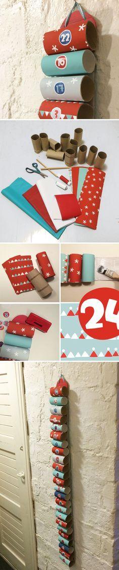 Joulukalenteri WC-paperirullista. lasten | askartelu | joulu | käsityöt | koti | joulukalenteri | kierrätys | DIY ideas | kid crafts | christmas | home | calendar | recycling | recycled materials | Pikku Kakkonen