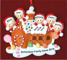 Gingerbread Candy Our Family Christmas 5 People Christmas Ornament