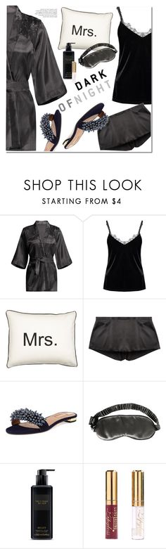 """""""Dark of Night"""" by ansev ❤ liked on Polyvore featuring Aquazzura, Slip and Victoria's Secret"""