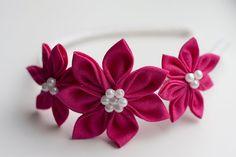 Girl headband  Pink Girl Kanzashi Flower by lefthandedcraftclub, $14.99