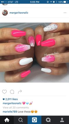 Neon pink and white coffin nails glitter ombré spring/summer 2016 nail art Coffin Nails Glitter, White Coffin Nails, White Nails, Acrylic Nails, Acrylic Summer Nails Coffin, Pink Coffin, White Glitter, Gorgeous Nails, Love Nails