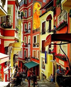 Colorful buildings in Istanbul. I miss this place.