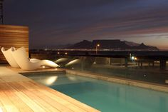 Pool with a view, wooden deck, plastic outdoor furniture. Wooden Decks, Pool Designs, Cape Town, Outdoor Pool, Outdoor Furniture, Outdoor Decor, Entertainment Area, Entertaining, Places