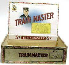 TRAIN MASTER 5¢ — WOOD CIGAR BOX — PAN-AMERICAN LINE – 1930s