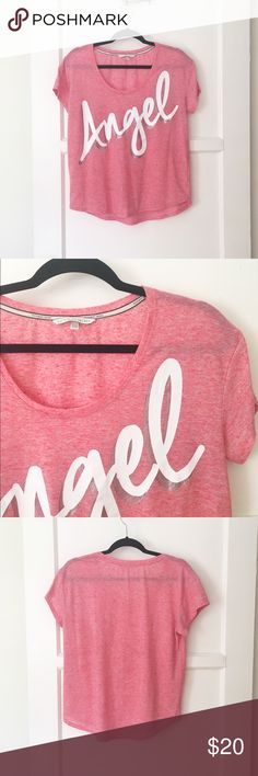 """VS Angel burnout tee Oversize fit burnout tee from VS. Super comfy. No condition issues.  Poly/linen. Length from shoulder is about 23"""". Armpit to armpit flat is about 21"""". Victoria's Secret Tops Tees - Short Sleeve"""