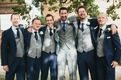 Blue & grey rustic farm wedding grey navy groom suit tweed http:// Rustic Groomsmen Attire, Rustic Wedding Attire, Tweed Wedding Suits, Wedding Outfits For Groom, Rustic Wedding Backdrops, Groom And Groomsmen Attire, Groom Outfit, Farm Wedding, Wedding Grey