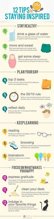 12 TIPS STAYING INSPIRED