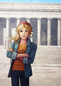 Annabeth Chase at the Lincoln Memorial (pic that Percy kept in his notebook in Sea of Monsters) love this pic! Best fan art ever! Annabeth Chase, Percy And Annabeth, Percy Jackson Fandom, Percy Jackson Fan Art, Percy Jackson Books, Magnus Chase, Percabeth, Solangelo, Leo Valdez