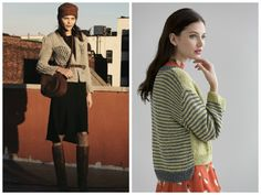 New street style: Fall is not too far away and soon it'll be time to work in your seasonal transition pieces. A lightweight cardi belted over a dress is a great layered look. Pattern (right) is the Marilyn Hi-Lo Cardigan in Filatura di Crosa's CHANTAL. (Inspiration photo, left, from refinery29.com)