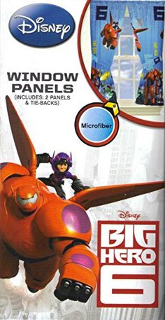 Disney Marvel Comics Big Hero 6 Window Panels Drapes Curtains, Blue